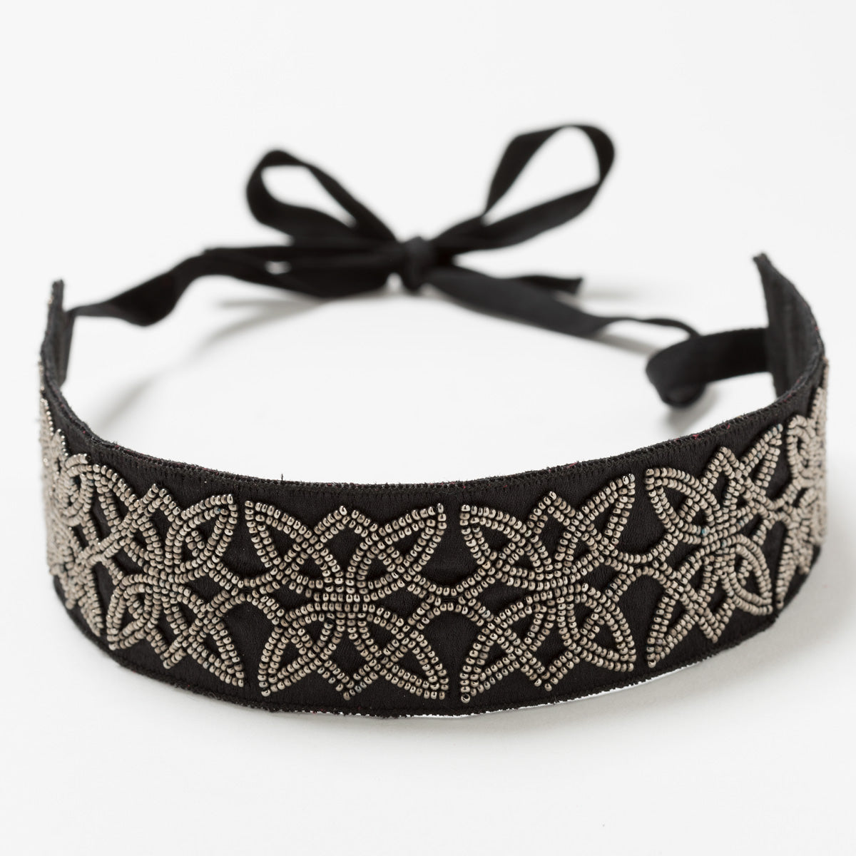 Lori Weitzner Ostara embroidered headband in charcoal
