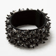 Lori Weitzner Penelope bracelet with beading, suede backing, magnetic closure in Charcoal