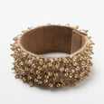 Lori Weitzner Penelope bracelet with beading, suede backing, magnetic closure in Honey