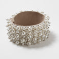 Lori Weitzner Penelope bracelet with beading, suede backing, magnetic closure in Pearl for Bridal