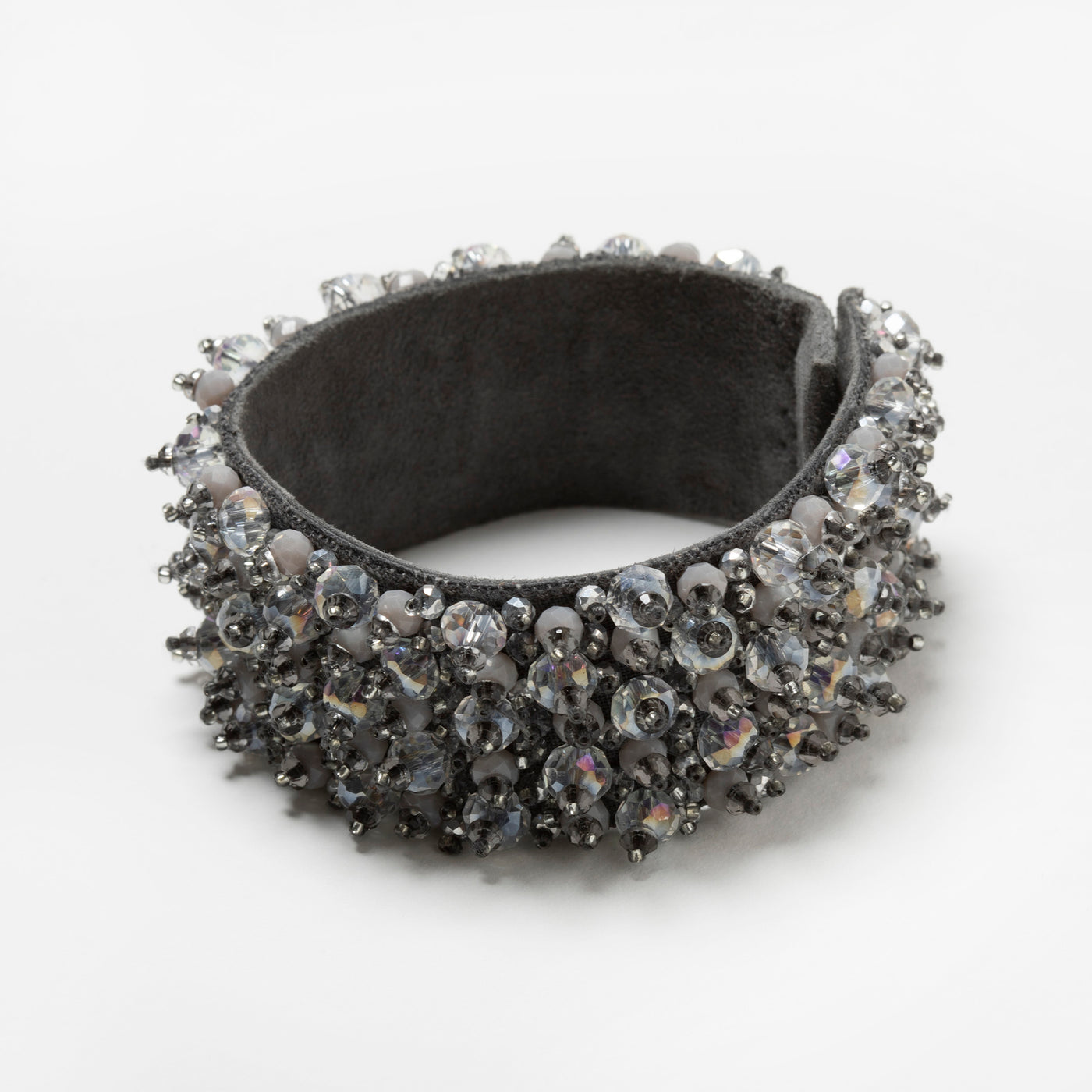 Lori Weitzner Penelope bracelet with beading, suede backing, magnetic closure in Stone