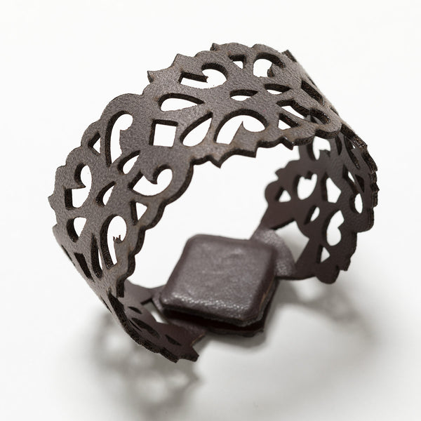 Lori Weitzner Terra laser cut reversible bracelet in suede and faux leather