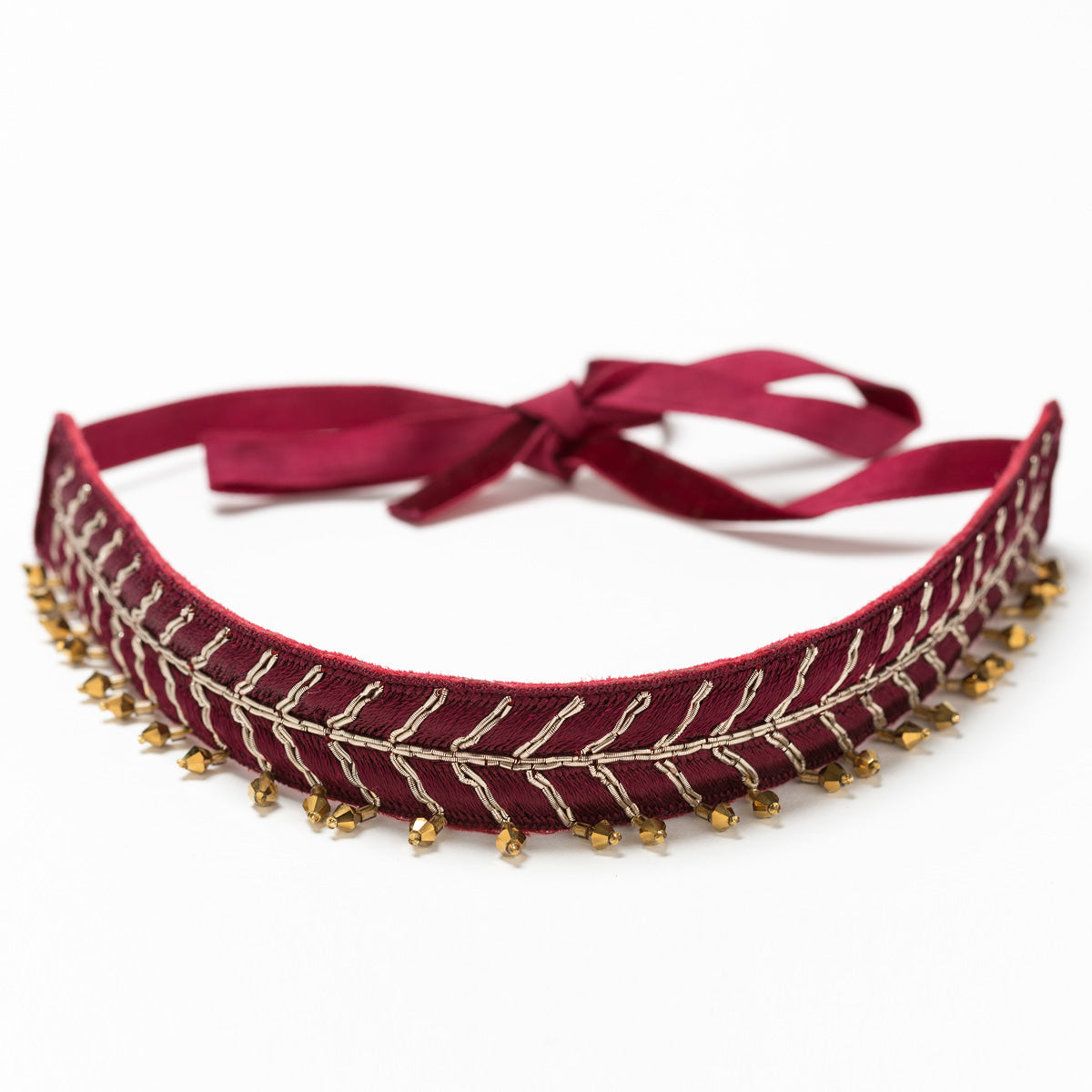 Lori Weitzner Vega Necklace, Choker with embroidery, beading, and velvet ties