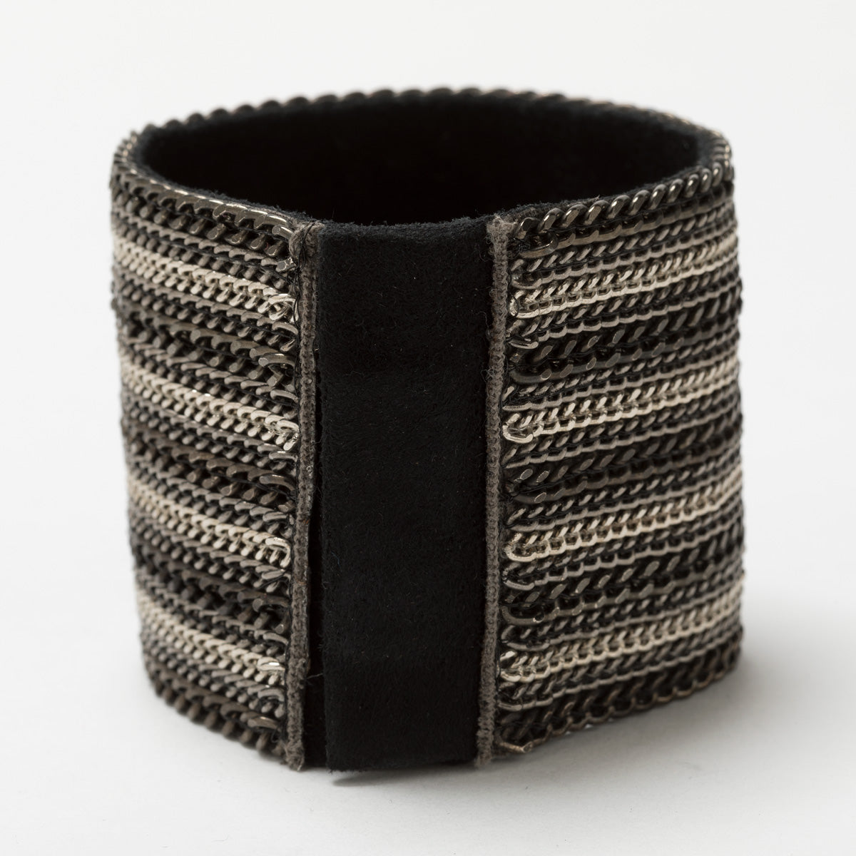 Lori Weitzner Zorya cuff bracelet with chain, suede backing and magnetic closure
