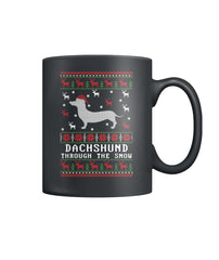 Dashschund Through Snow Color Coffee Mug
