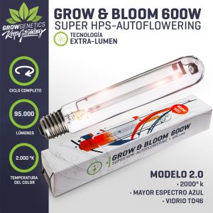 Ampolleta Grow & Bloom 600W Extra Lumen