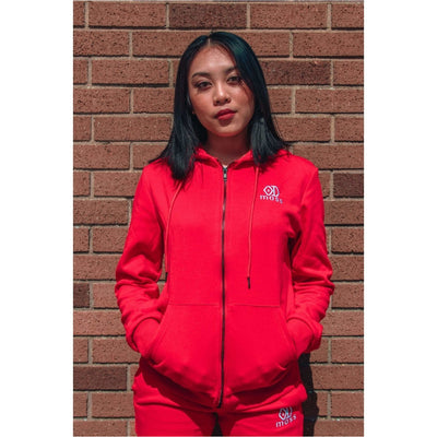 Crimson Red Tracksuit Hoodie Female - odmoss
