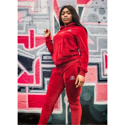 Ruby Red Velour Tracksuit Bottoms Female - odmoss