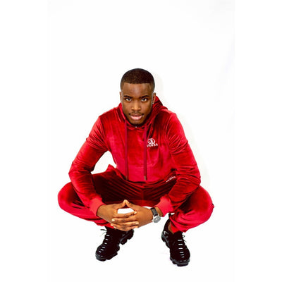 Ruby Red Velour Tracksuit Hoodie - odmoss