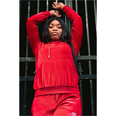 Ruby Red Velour Tracksuit Hoodie Female - odmoss