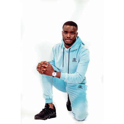 Sky Blue Velour Tracksuit Bottoms - odmoss