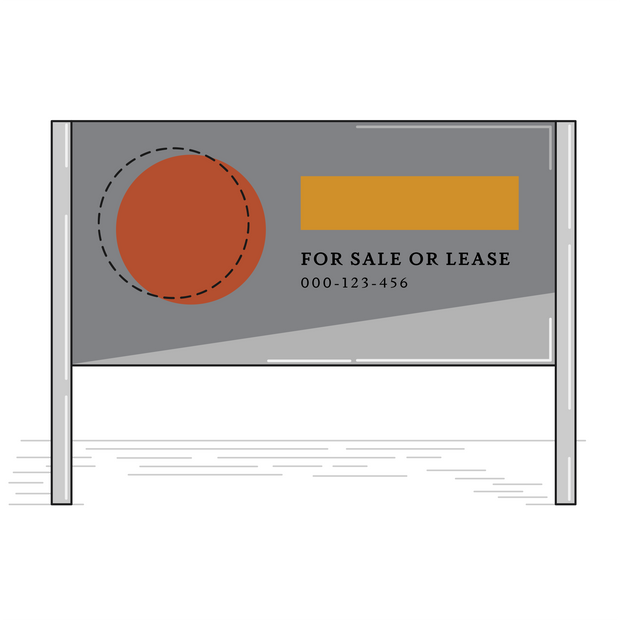 Real Estate Sign w/ Posts