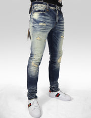 CDN Distressed Rip And Repair Jean -Slim Fit