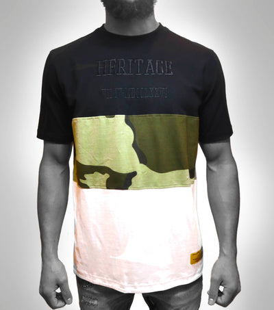 Camo Pieced Short Sleeve top
