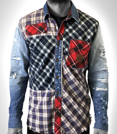 HRTG Denim plaid woven top