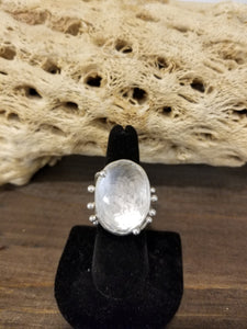 Mandala clear quartz ring