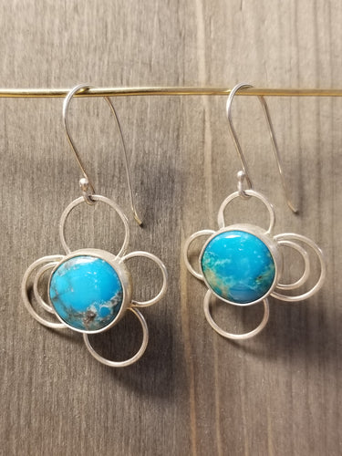Kingman Turquoise Tiny Bubbles Silver Wire Dangle Earrings