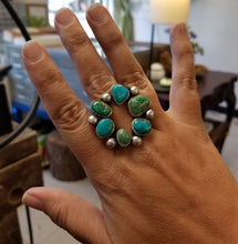 Load image into Gallery viewer, Kingman Turquoise Open Cluster Ring