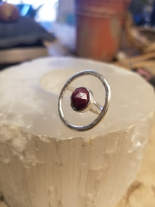 Red Sapphire Floating Circle Ring