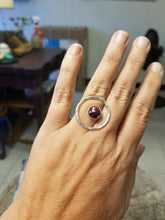 Load image into Gallery viewer, Red Sapphire Floating Circle Ring
