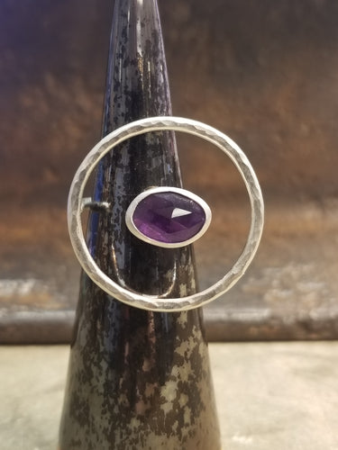 Amethyst Floating Circle Ring