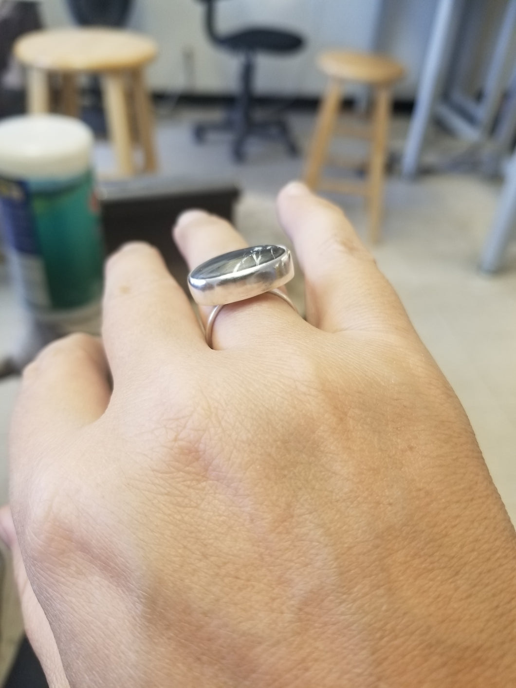 Iron Buffalo and Sterling Silver Ring