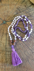 Rose Quartz, Amethyst and Rudraksha Mala