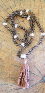 Smoky and Clear Quartz Mala
