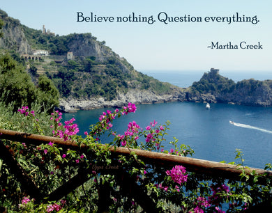 Believe nothing. Question everything.