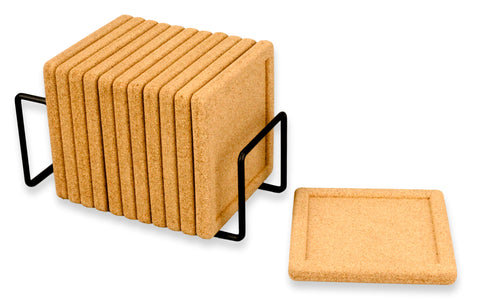 "Natural CorkCoasters Square for Drinks with Original Holder-Premium Set 12 pcs 4"",Thick 2/5""- Perfect to Protect Your Furniture,Heat Resistant, Moisture Absorbent for Cold Drinks"