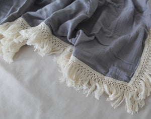 Cloud Grey Fringed Swaddle