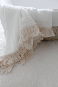 Crisp White Fringed Swaddle