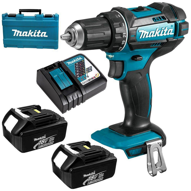 Makita Dhp482Rfe H/Driver Kit with 2x BL1830B + 1x DC18RC