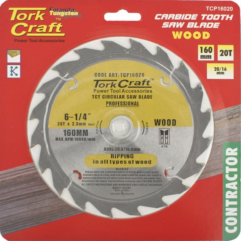 Tork Craft Blade Contractor 160 X 20T 20/16 Circular Saw Tct
