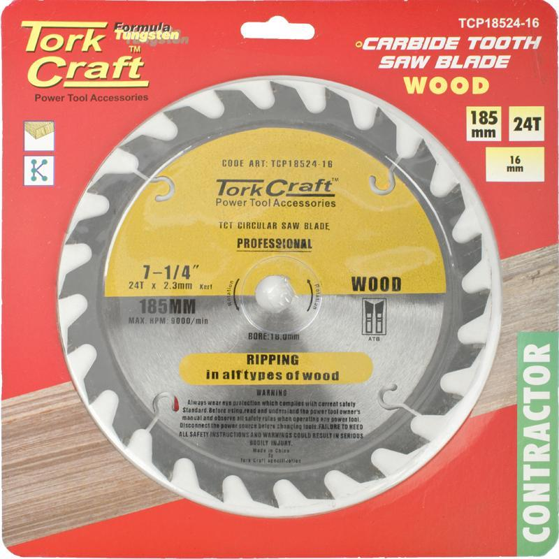 Tork Craft Blade Contractor 185 X 24T 16Mm Circular Saw Tct