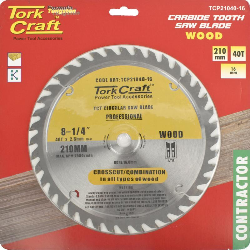 Tork Craft Blade Contractor 210 X 40T-16Mm Circular Saw Tct