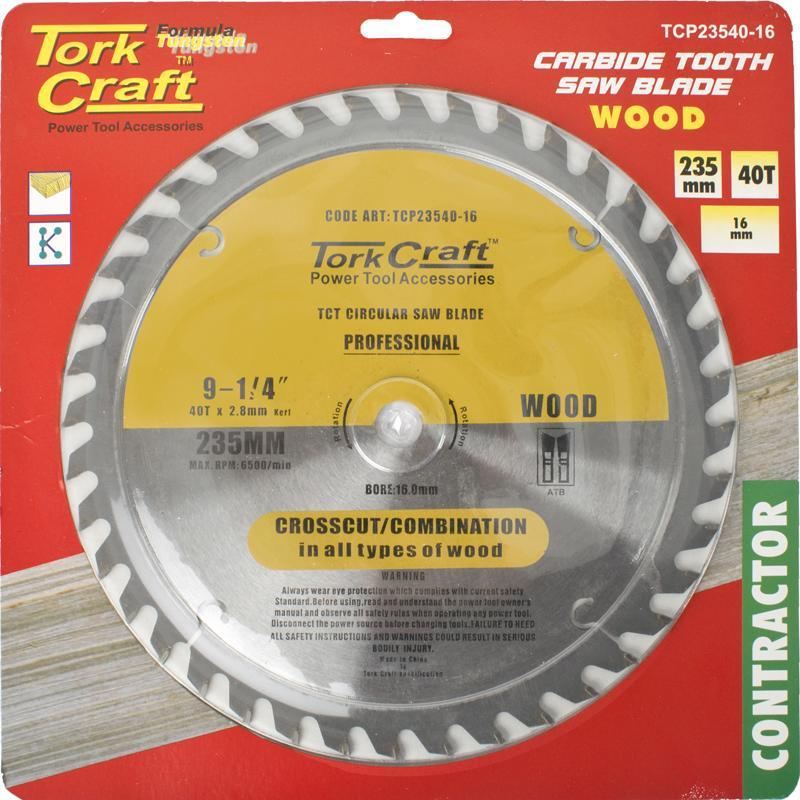 Tork Craft Blade Contractor 235 X 40T 16 Circular Saw Tct