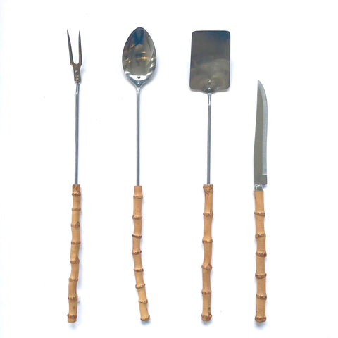 vintage bamboo barbecue set