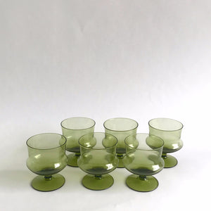 vintage green dessert glass, set of 6