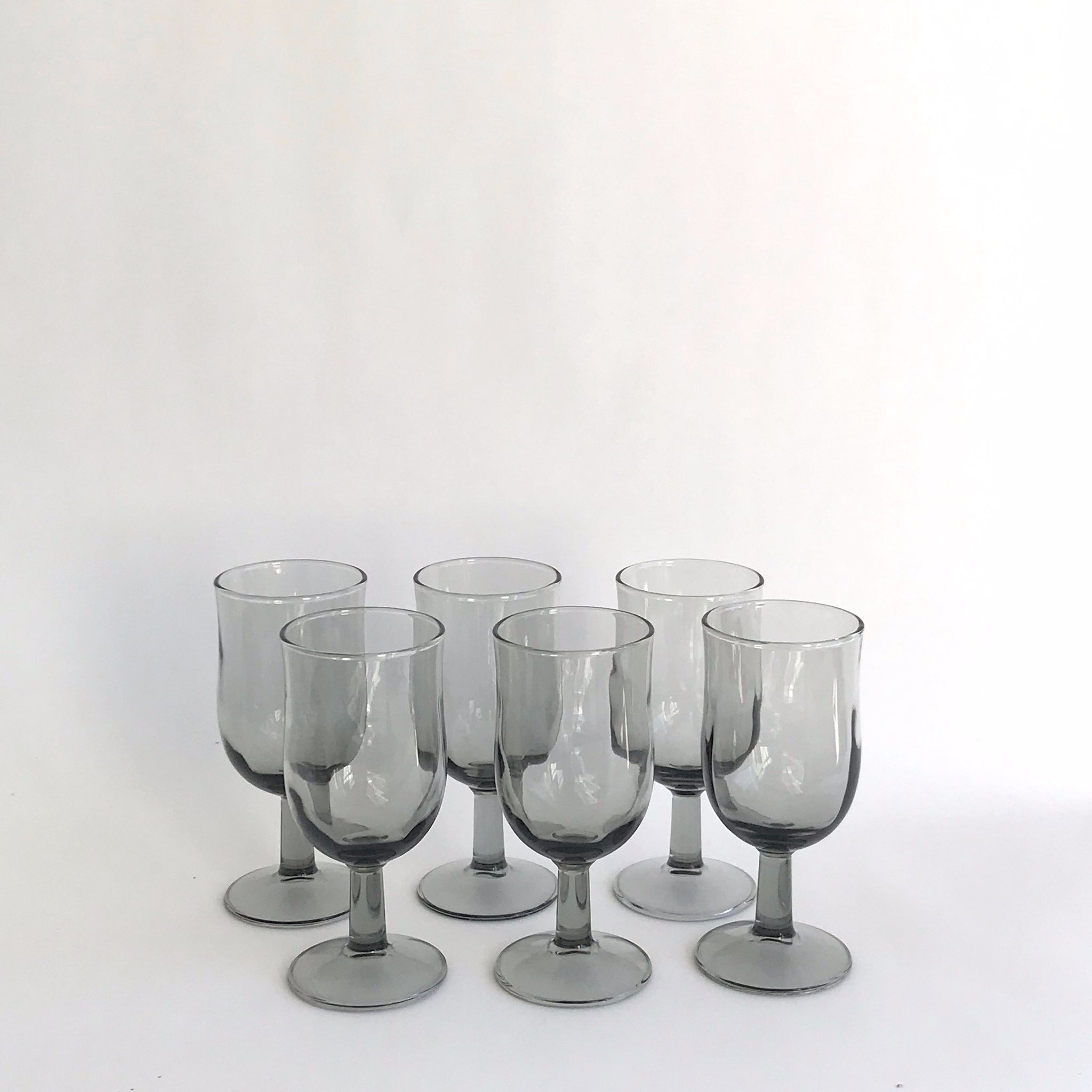 smoke grey glass goblet
