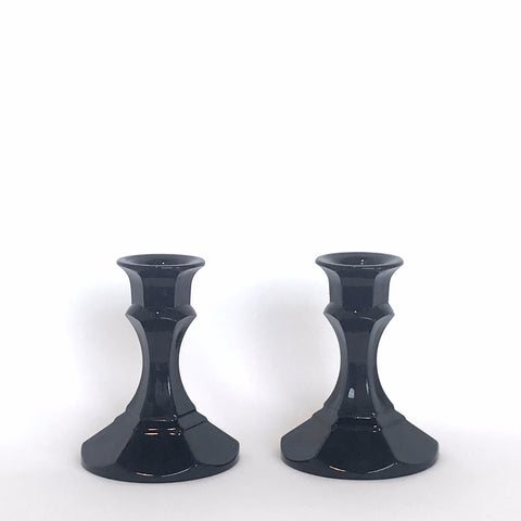 vintage black glass candlesticks