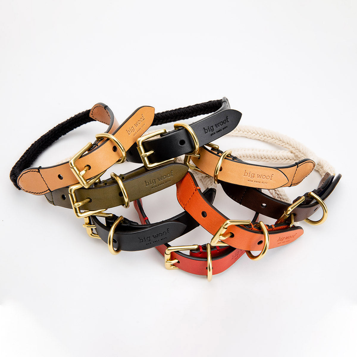 Big Woof cotton webbing and bridle leather dog collar