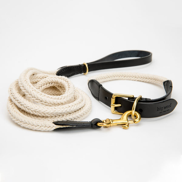 Big Woof cotton webbing and bridle leather dog leash