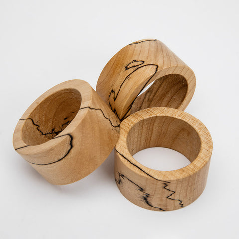 spalted maple wood napkin ring