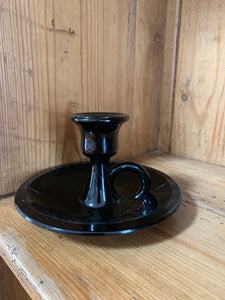 low candle holder w/ ring-black glass