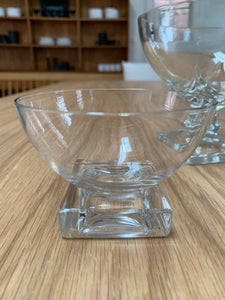 small bowl on square base, clear glass