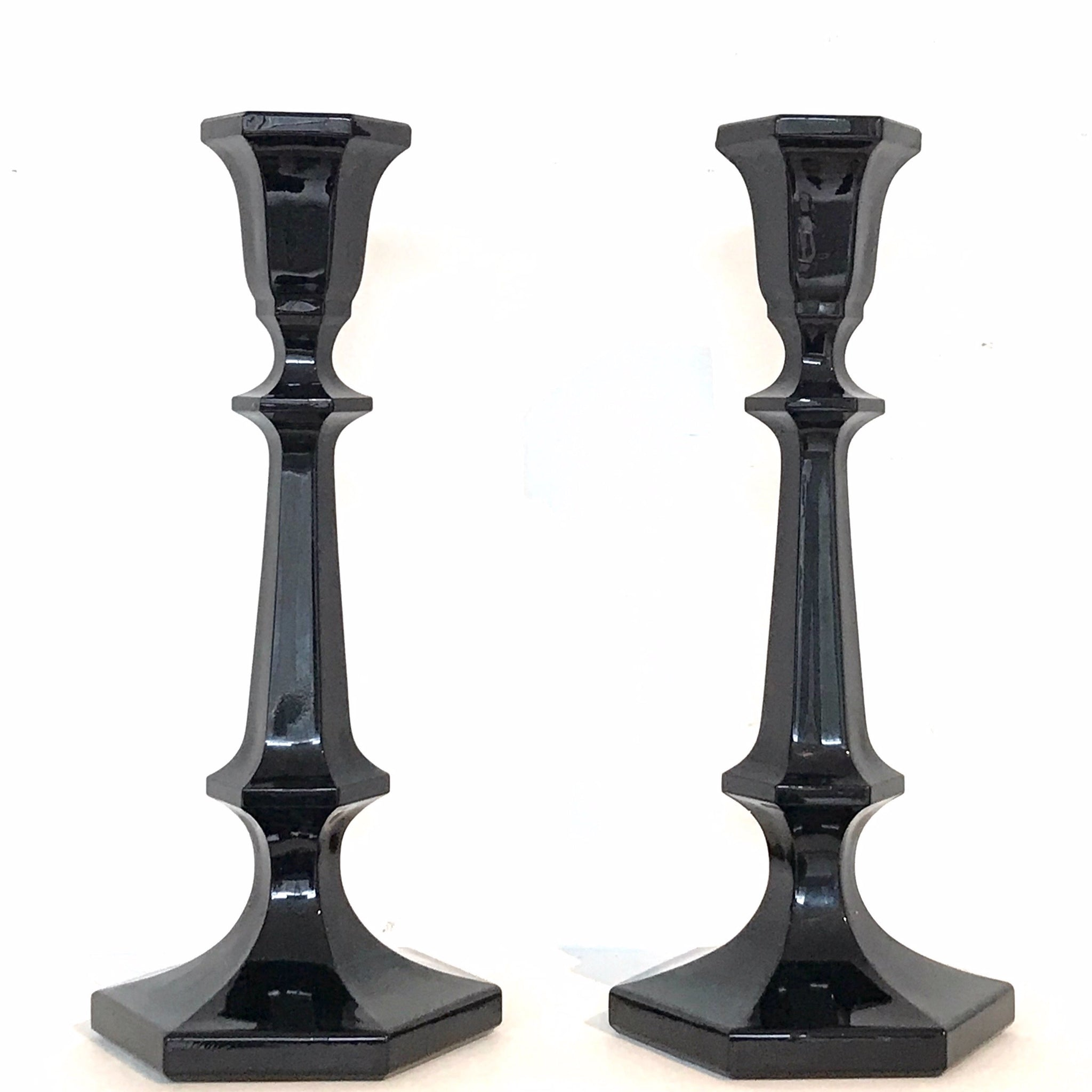 vintage black glass candle sticks