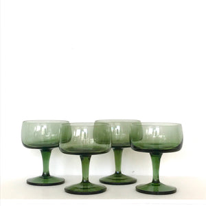 vintage green/grey coupe glasses