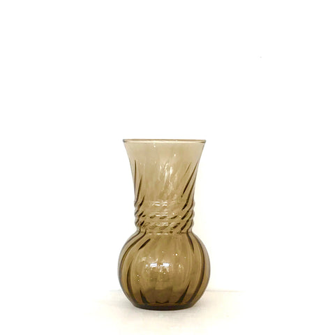 vintage twisted smoky brown glass vase