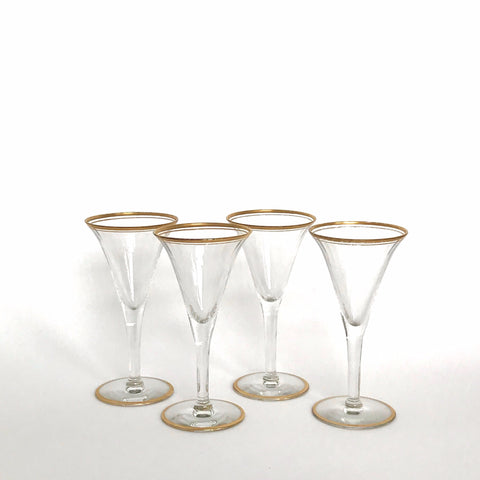 vintage gold rimmed clear glass cordials